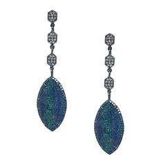 Reeve Earrings - Opal, Diamonds, Green Diamonds, Sterling Silver - by Meredith Marks Designs