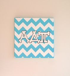 hand painted Alpha Delta Pi letters outline with chevron background 12x12 canvas OFFICIAL LICENSED PRODUCT