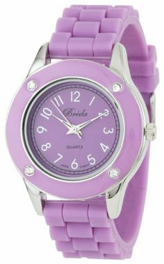 """Breda Women's 2282_purple """"Whitney"""" Rhinestone Jelly Sport Watch Breda. $23.10. Highest standard Quartz movement. Purple silicone band with silver buckle. Water-resistant - not recommended to take into deep water or shower. Purple bezel with 4 clear rhinestone accents. Purple dial with silver hour markers and hands"""