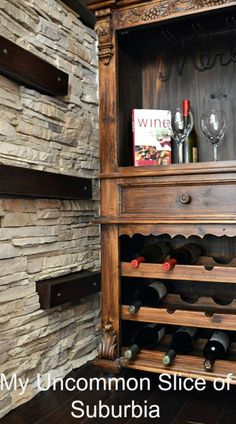 Step by step tutorial on how to Install faux stone indoors on a wall. Creative idea on using waisted space under the stairs and turning it into a wine cellar. Faux Stone Veneer, Faux Stone Walls, Under Stairs Wine Cellar, Stair Walls, Shaker Style Doors, In Vino Veritas, Reno, Home Projects, Home Improvement