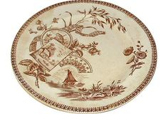"""Vintage brown transferware plate with boat design. Marked """"Tennyson ..."""