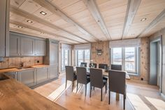 Pärnu Log Homes® - contemporary wooden buildings, laft, stavlaft Wooden Buildings, Cabin Kitchens, Winter House, Log Homes, Contemporary, Modern, Farmhouse Style, Kitchen Design, Real Estate