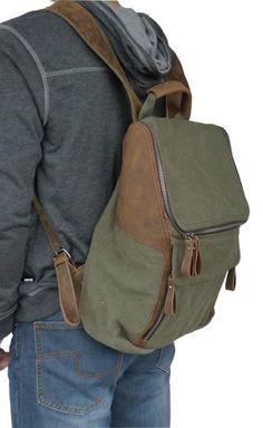 Amazon.com: Otium 21109AMG Leisure Canvas Genuine Leather Bagpack Backpack, Army Green: Clothing $54.99