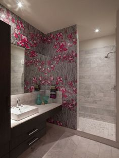 Shocking Pink Flowery and Light Grey Branches Wallpaper with Light Grey Wall and Concrete Floors in Modern Bathroom Design Ideas