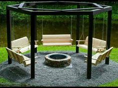 Fire pit with porch swing circle.  What an awesome idea.