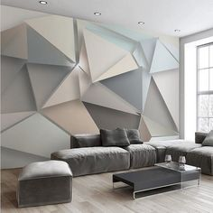 Quality design geometric shapes wall mural for home or commerce. Modern 3d abstract wallpaper. Custom geometric pattern wall paper for walls. Free shipping.