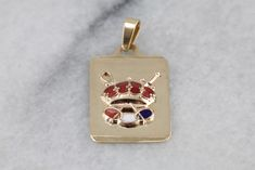 Royal Enamel Crown Pendant, Royal Charms Pendant