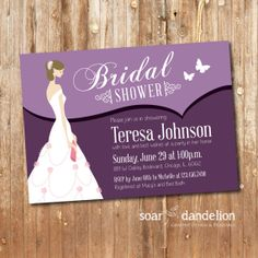 Bridal Shower Printable Invitation  003 by soardandelion on Etsy, $12.50