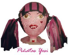 Piñata artesanal hecha a mano al estilo tradicional mexicano de Draculaura de las Monster High