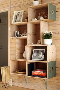 Great wall unit idea. I see individual drawers from broken furniture at the flea market all the time, now I have  something to create with them!