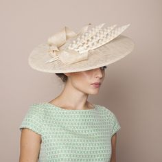 Gina Foster Millinery SS 2015 - Ponza - Large Hat with Feather & Bow Trim