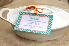 free printable meal instruction label for someone who's just had a baby.  super cute.