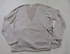 J.Jill  Women Beige Cream Knit Wrap Sweater Size L #JJill #Sweater