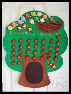 Decorate your kid's room with lovely handmade Apple Tree Perpetual Calendar (glow in the dark)