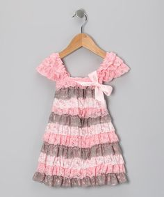 Take a look at this Pink & Cream Lace Ruffle Dress - Toddler & Girls