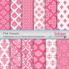 Pink Damask, Digital Paper, Scrapbooking, Paper, 12x12, Printable, European, Royal, Pattern, Damask, Texture, Pink, White, Background by Selegan on Etsy