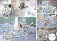 Photos of Candy Bar Sydney - Sydney New South Wales. Blue and white Christening Candy Buffet created by Candy Bar Sydney Blue Candy Table, White Candy Bars, Blue Silver Weddings, Pink And White Weddings, Lolly Buffet, Dessert Buffet, Baby Boy Christening, Baby Shower Decorations For Boys, Wedding Candy