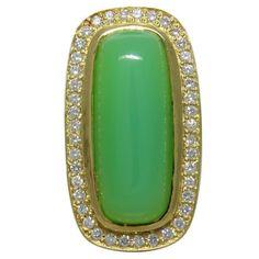 Large Seidengang Chrysoprase Diamond 18K Gold Ring