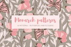 8 Monarch Patterns by Blue Lela Illustrations on @creativework247