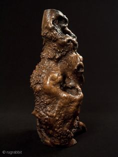 """Burl candle stand, Japan. Burl wood. 17"""" (43 cm) tall. Early to mid-20th century. The hole in the top is 6"""" deep; this piece has been waxed."""