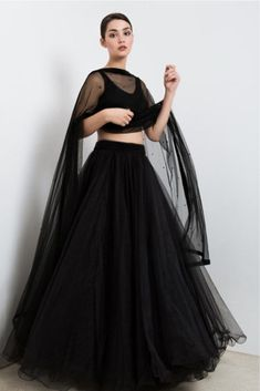 The Stylish And Elegant Lehenga Choli In Black Colour Looks Stunning And Gorgeous With Trendy And Fashionable Beads. The Tulle Fabric Party Wear Lehenga Choli Looks Extremely Attractive And Can Add C. Lehenga Choli, Lehnga Dress, Indian Lehenga, Red Lehenga, Lehenga Skirt, Sharara, Sarees, Indian Gowns Dresses, Indian Fashion Dresses
