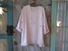 linen blouse top in light pink A-line ready to ship