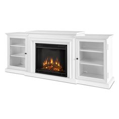 Real Flame Frederick White 72 in. L x 15.5 in. D x 30.1 in. H Electric Entertainment Fireplace