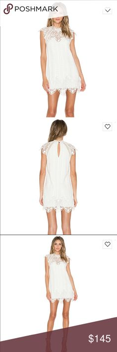 White Lace REVOLVE Saylor Rosetta dress Brand new with tags, size M, creme, gorgeous! Saylor Dresses Mini