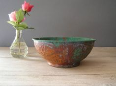 Rustic Copper bowl Vintage rustic Planter by MeshuMaSH on Etsy