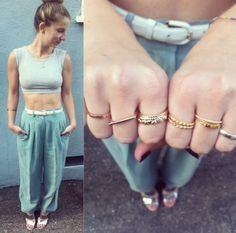 #ootd, crop tops and rings too #tawnieandbrina rings