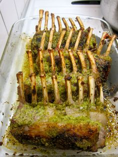 For the main course of our Christmas Eve dinner, I roasted rosemary/garlic/lemon-crusted racks of lamb. I found very nice, trimmed, Frenched racks of lamb at our local supermarket — Swedish … Lamb Recipes, Paleo Recipes, Dinner Recipes, Rack Of Lamb Marinade, Crusted Rack Of Lamb, Lamb Shank Recipe, Lamb Dinner, Christmas Eve Dinner, Lamb Shanks