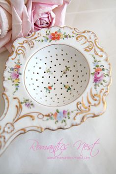 """Antique Tea strainer find for a keepsake to give when you host your daughter's, granddaughter's, niece's, Goddaughter's """"first"""" Tea. Tea Strainer, Tea Infuser, Tea Cup Saucer, Tea Cups, Cuppa Tea, Tea Caddy, My Cup Of Tea, Tea Accessories, Vintage Tea"""