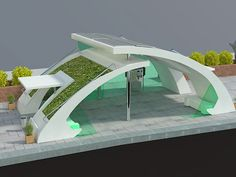Concept design for Harbin city green bus stop project Concept Models Architecture, Green Architecture, Architecture Design, Gate Design, House Design, Bus Stop Design, Parque Linear, Bus Shelters, Shelter Design
