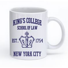 Hamilton Broadway Musical King's College School of Law Est 1854... ($18) ❤ liked on Polyvore featuring home, kitchen & dining, drink & barware, drinkware, home & living, mugs and silver