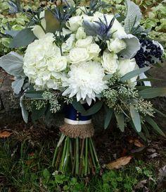 Navy and white wedding! Floral Designs by Jon Haven Farm! Hydrangeas! White majolica spray roses, vendella roses, white Cremona chrysanthemums, blue eryngium thistle, seeded eucalyptus.