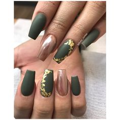 Gel Nail Designs Green - Among the hottest movements in nail style is yellowish acrylic nails. Matte Green Nails, Neon Green Nails, Coffin Nails Matte, Cute Acrylic Nails, Gold Nails, My Nails, Olive Nails, Green Nail Designs, New Years Nail Designs