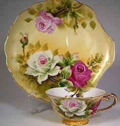 Lefton Brown Heritage snack plate and cup set Cup And Saucer Set, Tea Cup Saucer, Teapots And Cups, Teacups, Antique Tea Cups, China Tea Cups, Vintage Tea, Vintage Dishes, Vintage Floral