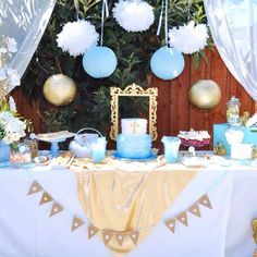 Lovely Blue baptism dessert table and party decorations! See more party… Baptism Dessert Table, Baptism Desserts, Boy Baptism Centerpieces, Baptism Party Decorations, Baptism Themes, Baptism Photos, Baptism Ideas, Baptism Food, Quince Decorations