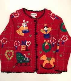 Vintage Hampshire Studios Ugly Christmas Knit Tacky Sweater Cardigan Medium  US $26.99 Pre-owned in Clothing, Shoes & Accessories, Women's Clothing, Sweaters
