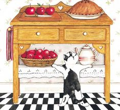 Apple Pie with black and white cat