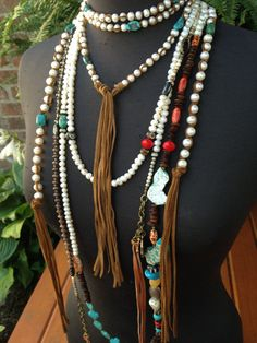 Nine feet of pearls stones leather by JulieMoloneyDesigns on Etsy