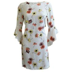 Womens Plus Size 20 Cream Floral Shift Dress Bell Sleeves Wedding Occasion Party Hippie Goddess, Charleston Dress, Cocktail Attire, Pencil Dress, Frocks, Plus Size Outfits, Bell Sleeves, Cream, Size Clothing