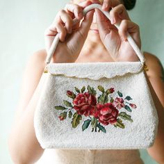 beaded vintage purse clutch evening bag floral ~ Which Goose
