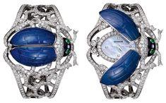 Часы-браслет «Хепри» в виде жука скарабея. Лазурит, оникс, изумруды, бриллианты. Бушерон (Boucheron). 2011 год