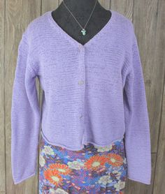 Lands End 2x 20w 22w size Purple Cardigan Sweater Womens Cotton ...