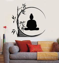 Vinyl Wall Decal Buddha Meditation Circle Yoga Reed Buddhism Stickers Unique Gift 45 in X 45 in / Orange Simple Wall Paintings, Wall Painting Decor, Wall Art Designs, Paint Designs, Wall Design, Buddha Wall Art, Buddha Painting, Buddha Drawing, Buddha Canvas