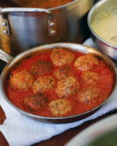 "Classic Beef Meatballs - Ricotta cheese helps to make these meatballs moist and delicious in this popular recipe from Daniel Holzman and Michael Chernow's ""The Meatball Shop Cookbook."""