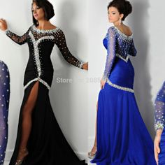 Bewitching Scoop See Through Crystal Prom Gown Side Split Royal Blue Black Mermaid Long Sleeve Evening Dress Chiffon E6189