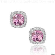 Pink Sapphire and Diamond Earrings .