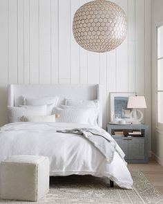 Wonderful spring novelties by Serena & Lily #interior #design #home #decor #idea #inspiration #cozy #room #style #color #light #white #bedroom #wood #panel #white #bedding #rug